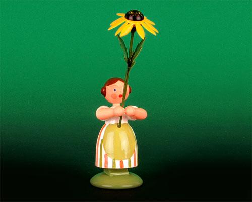 Seiffen Weihnachtshaus - Wiesenblumenkind 11cm gelber Sonnenhut - Bild 1