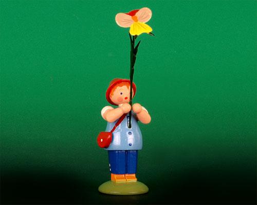 Seiffen Weihnachtshaus -  Sommerblumenjunge 12cm Stiefmütterchen - Bild 1