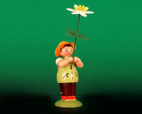 Seiffen Weihnachtshaus -  Sommerblumenjunge 12cm Buschwindröschen - Bild 1