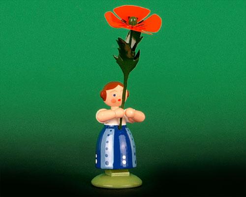 Seiffen Weihnachtshaus - Wiesenblumenkind 11cm Mohnblume - Bild 1