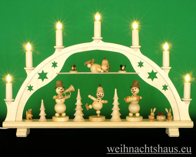 Seiffen Weihnachtshaus - Schwibbogen 7 Kerzen Schneemannkonzert 54 cm - Bild 1