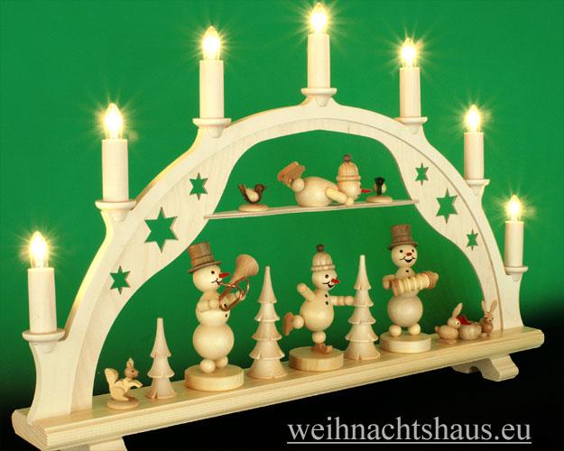 Seiffen Weihnachtshaus - Schwibbogen 7 Kerzen Schneemannkonzert 54 cm - Bild 2