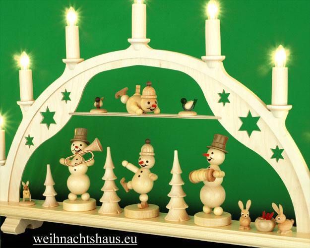 Seiffen Weihnachtshaus - Schwibbogen 7 Kerzen Schneemannkonzert 54 cm - Bild 3