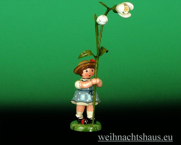 Seiffen Weihnachtshaus - Sommerhutblumenmädchen 11 cm Schneeglöckchen/  Hubrig Blumenkind - Bild 1