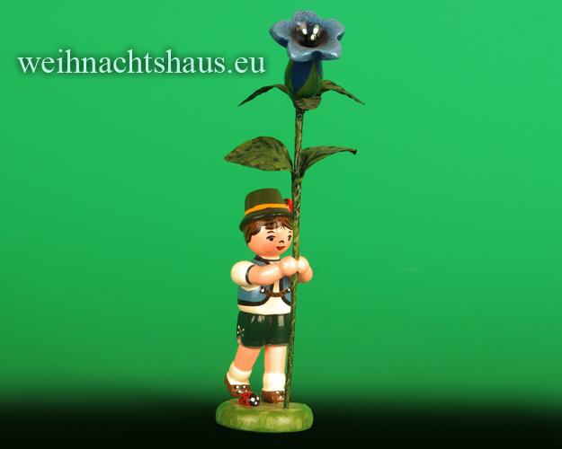 Seiffen Weihnachtshaus - Blumenjunge 11,5cm Enzian - Bild 1