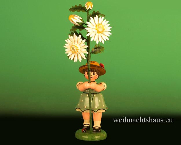 Seiffen Weihnachtshaus - Sommerhutblumenkind Mädchen 17 cm Edelweißmargerite - Bild 1