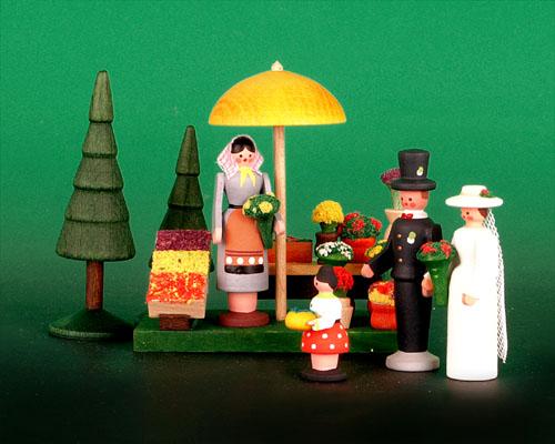 Seiffen Weihnachtshaus - Sommermarkt Blumen 6 tlg - Bild 1