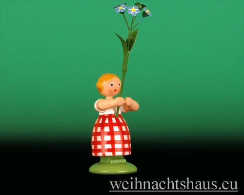 Seiffen Weihnachtshaus - Wiesenblumenkind 11cm Vergißmeinnicht - Bild 1