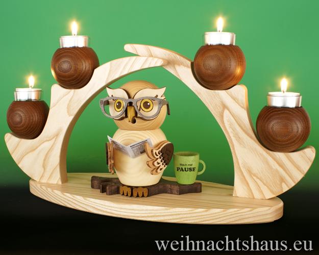 Seiffen Weihnachtshaus - Schwibbogen  ohne Figuren leer Teelichte 45cm braun - Bild 2