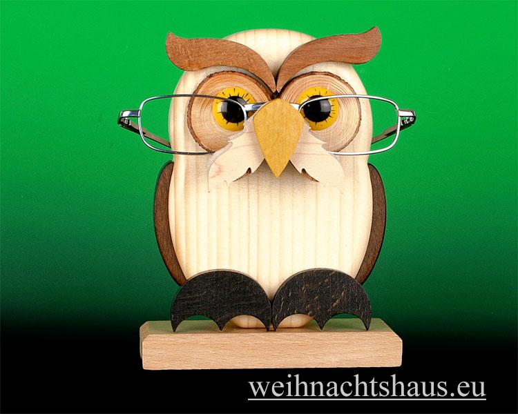 Seiffen Weihnachtshaus - Brillenhalter für Brillen Eule aus Holz - Bild 1