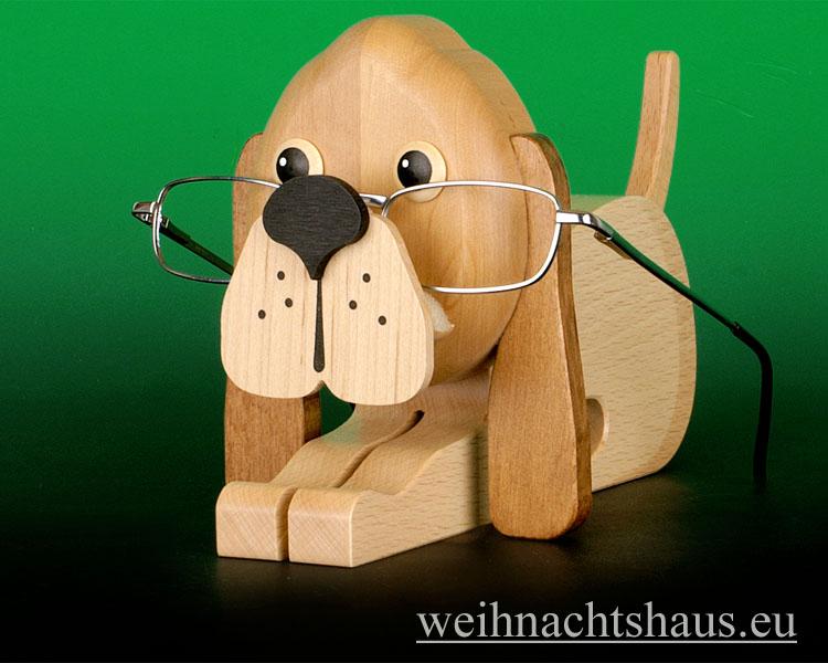 Seiffen Weihnachtshaus - Brillenhalter für Brillen, Hund aus Holz - Bild 1
