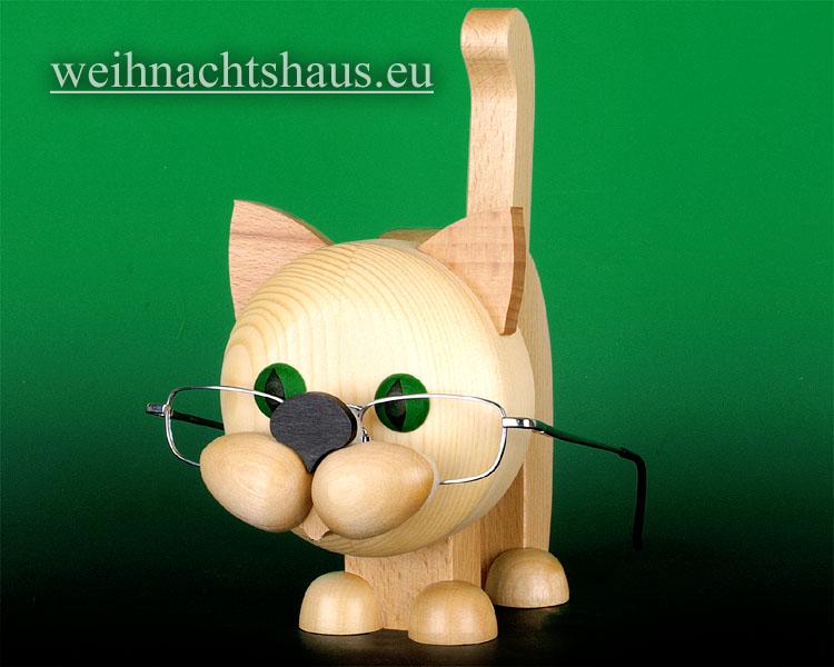 Seiffen Weihnachtshaus - Brillenhalter für Brillen Katze aus Holz natur - Bild 1