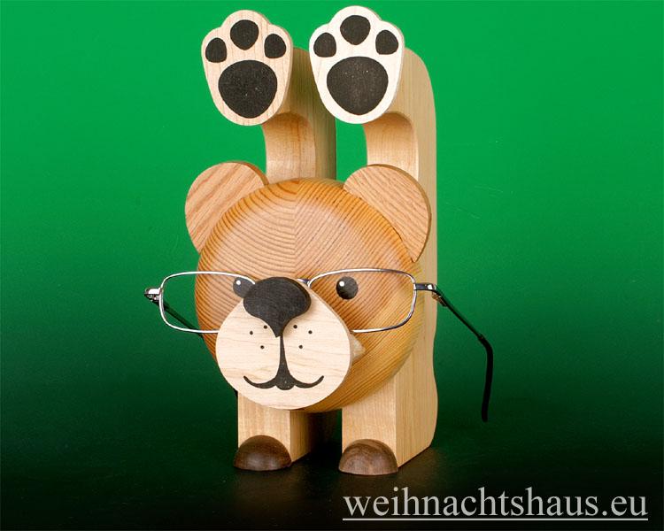Seiffen Weihnachtshaus - Brillenhalter für Brillen, Bär aus Holz - Bild 1