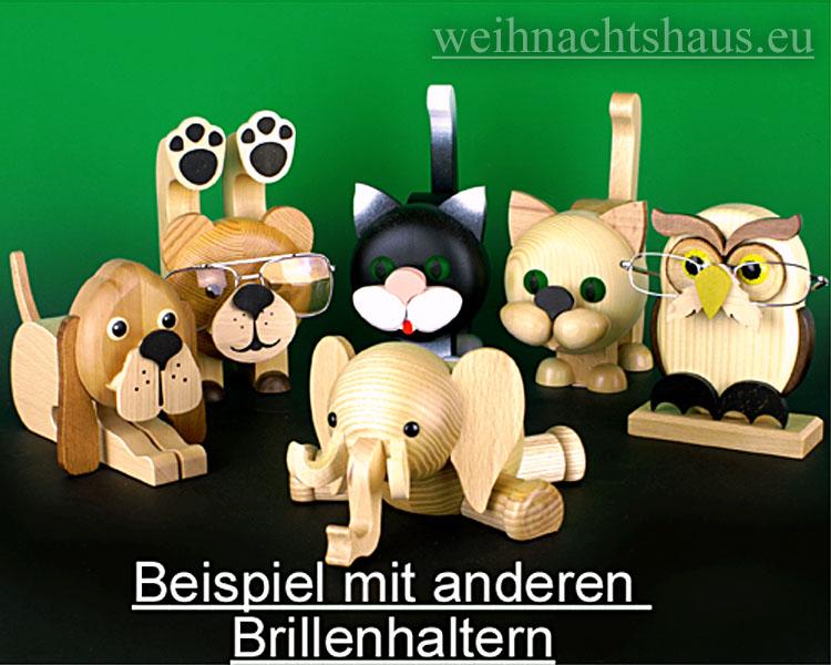 Seiffen Weihnachtshaus - Brillenhalter für Brillen,  Elefant aus Holz - Bild 2