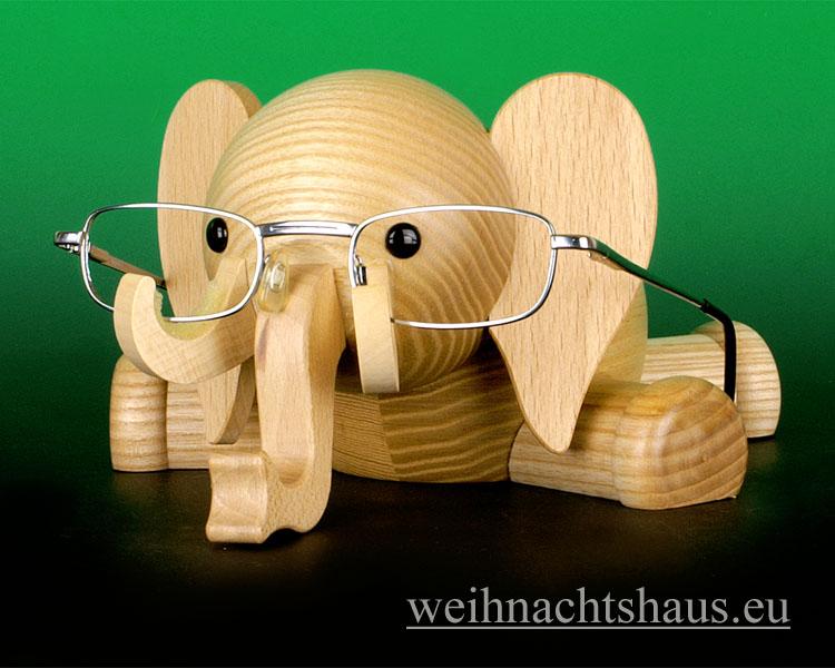 Seiffen Weihnachtshaus - Brillenhalter für Brillen,  Elefant aus Holz - Bild 1