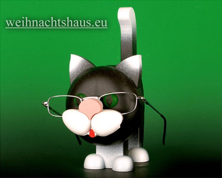 Seiffen Weihnachtshaus - Brillenhalter für Brillen Katze schwarz aus Holz - Bild 1