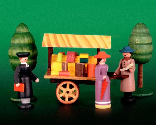 Seiffen Weihnachtshaus - Sommermarkt Bücherkarre 6 tlg - Bild 1
