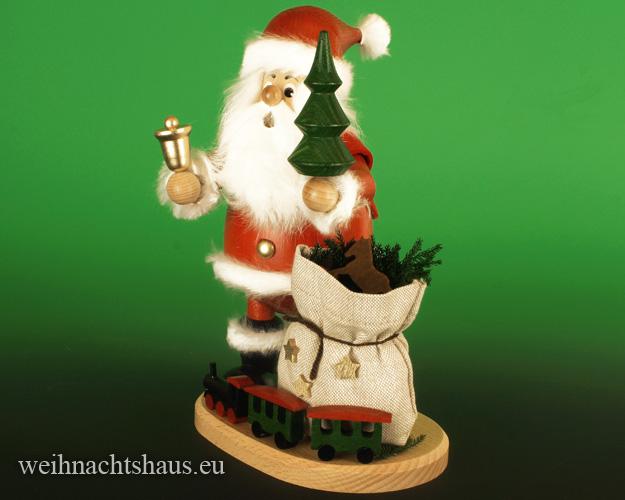 Seiffen Weihnachtshaus - <!--03-->Räuchermann großer Wichtel Weihnachtsmann mit Eisenbahn - Bild 2