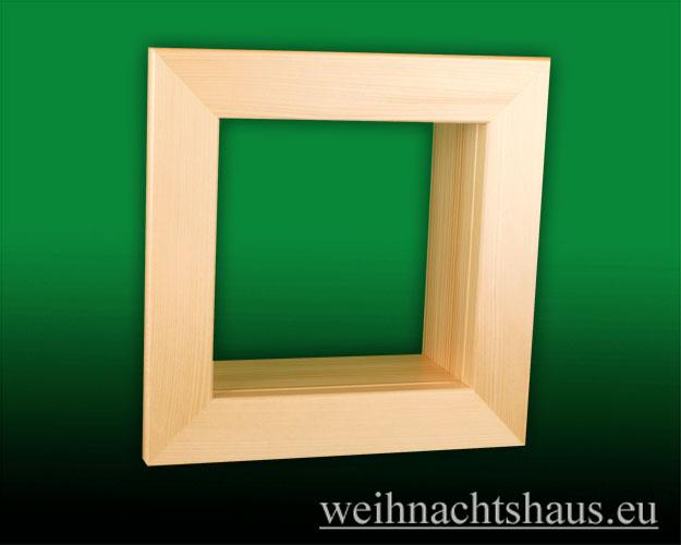 Seiffen Weihnachtshaus - Wandrahmen-Kastenrahmen natur Rahmen aus Holz    B 24 x H 24 cm - Bild 1