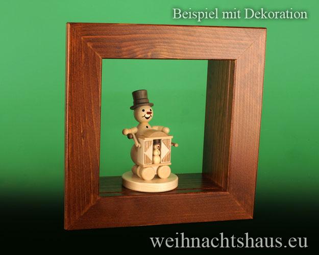 Seiffen Weihnachtshaus - Wandrahmen-Kastenrahmen braun Rahmen aus Holz    B 24 x H 24 cm - Bild 2