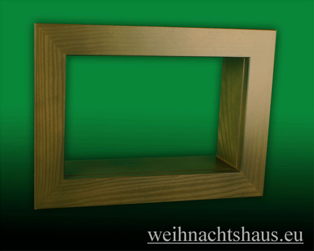 Seiffen Weihnachtshaus - Wandrahmen-Kastenrahmen weiß Rahmen aus Holz    B 33 x H 24 cm - Bild 1