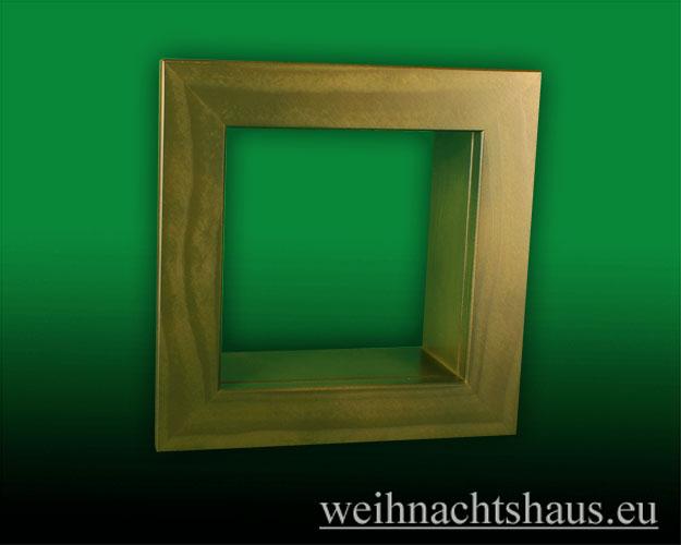 Seiffen Weihnachtshaus - Wandrahmen-Kastenrahmen grün Rahmen aus Holz    B 24 x H 24 cm - Bild 1