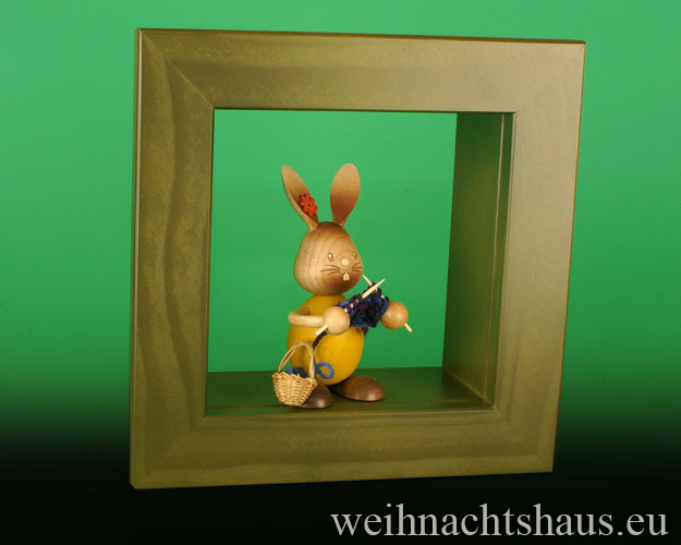 Seiffen Weihnachtshaus - Wandrahmen-Kastenrahmen grün Rahmen aus Holz    B 24 x H 24 cm - Bild 3