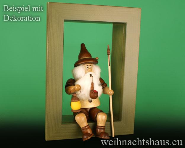 Seiffen Weihnachtshaus - Wandrahmen-Kastenrahmen weiß Rahmen aus Holz    B 33 x H 24 cm - Bild 2