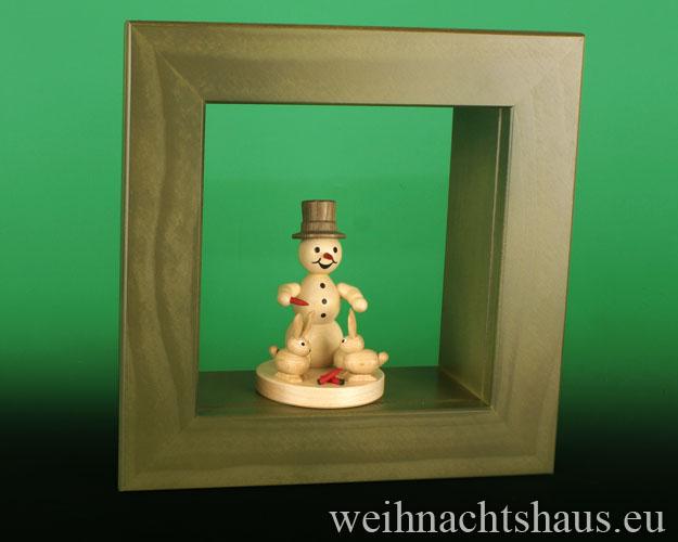 Seiffen Weihnachtshaus - Wandrahmen-Kastenrahmen grün Rahmen aus Holz    B 24 x H 24 cm - Bild 2