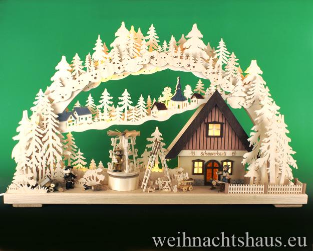 Seiffen Weihnachtshaus - Doppelschwibbogen-Erzgebirge 20 Kerzen Schauwerkstatt 70 cm - Bild 1