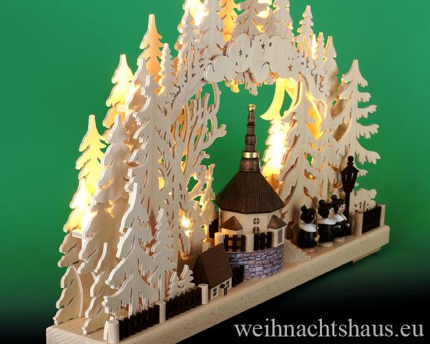 Seiffen Weihnachtshaus - Doppelschwibbogen Erzgebirge Seiffener Kirche 10 Kerzen 43 cm - Bild 2