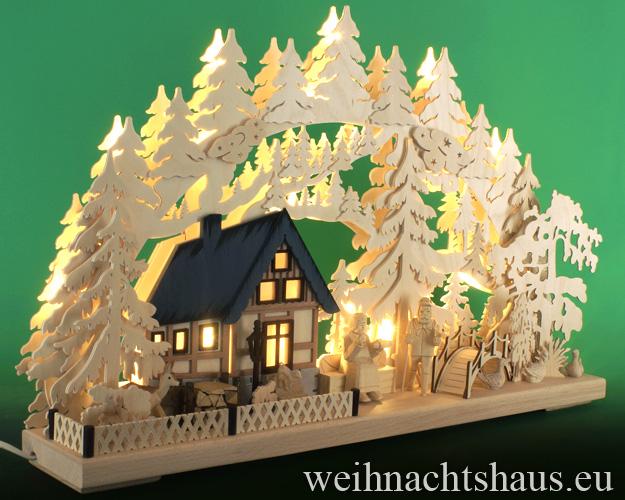 Seiffen Weihnachtshaus - Doppelschwibbogen-Erzgebirge 17 Kerzen Am Waldbach 60 cm - Bild 2