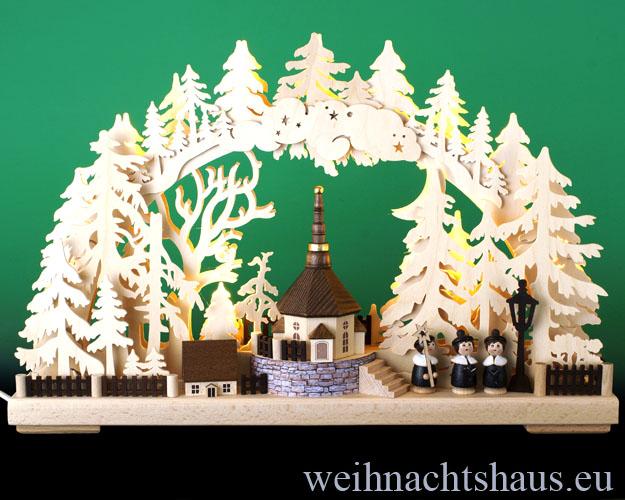 Seiffen Weihnachtshaus - Doppelschwibbogen Erzgebirge Seiffener Kirche 10 Kerzen 43 cm - Bild 1