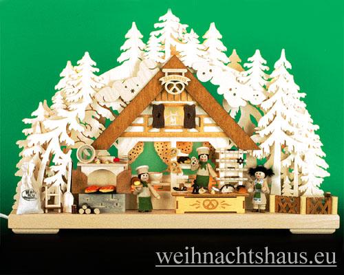 Seiffen Weihnachtshaus - Doppelbogen 10 Kerzen Weihnachtsbäckerei 43 cm - Bild 1