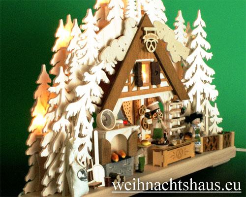 Seiffen Weihnachtshaus - Doppelbogen 10 Kerzen Weihnachtsbäckerei 43 cm - Bild 2