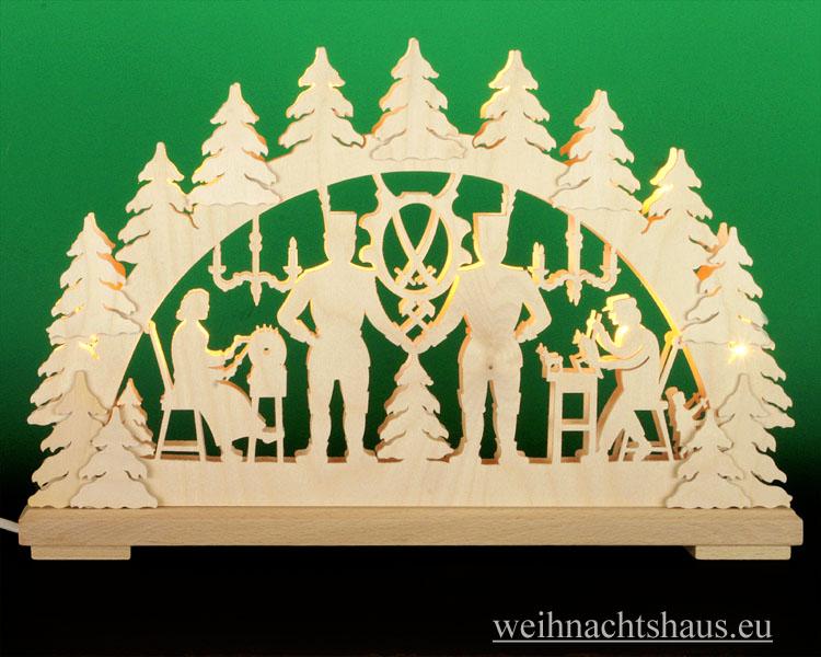 Seiffen Weihnachtshaus - Doppelbogenschwibbogen--Erzgebirge 10 Kerzen Bergmann 43 cm - Bild 1