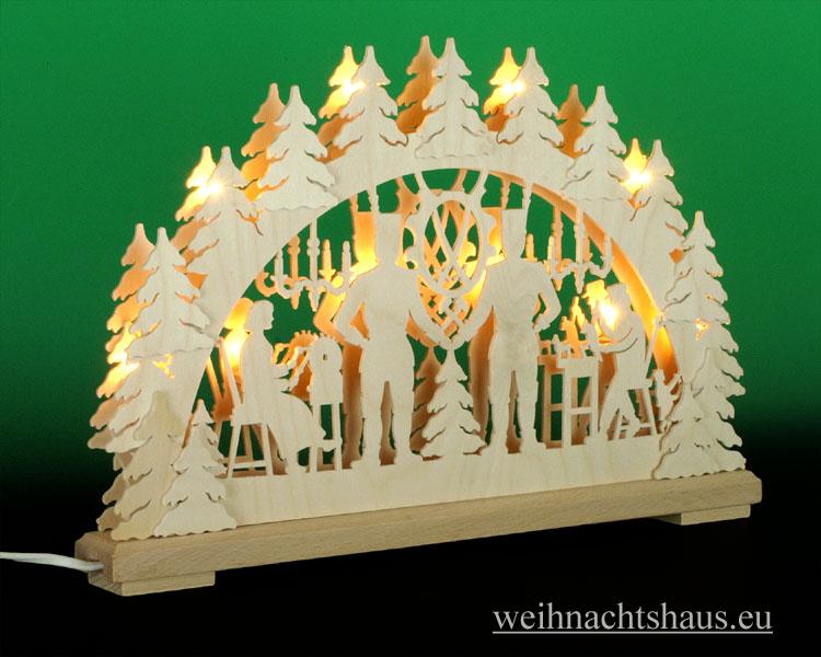 Seiffen Weihnachtshaus - Doppelbogenschwibbogen--Erzgebirge 10 Kerzen Bergmann 43 cm - Bild 2