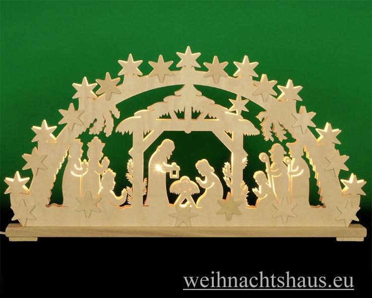 Seiffen Weihnachtshaus - Doppelbogen 20 Kerzen Christi Geburt 69 cm - Bild 1