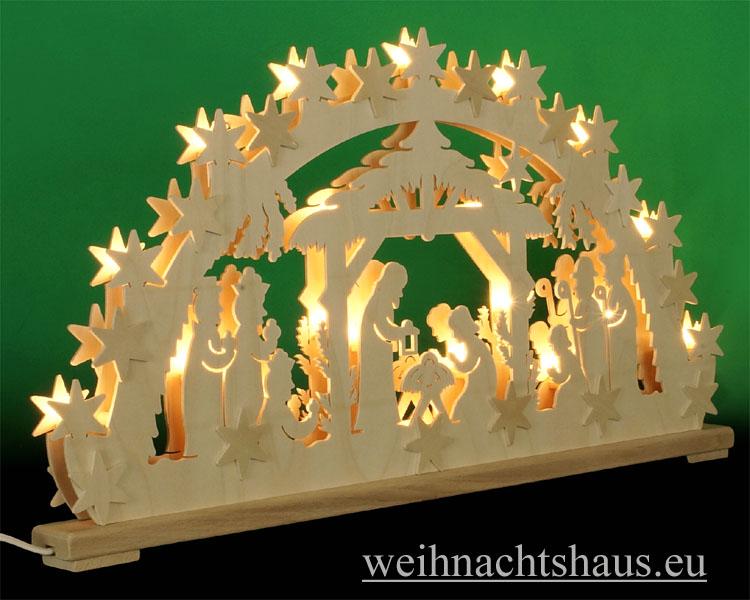 Seiffen Weihnachtshaus - Doppelbogen 20 Kerzen Christi Geburt 69 cm - Bild 2