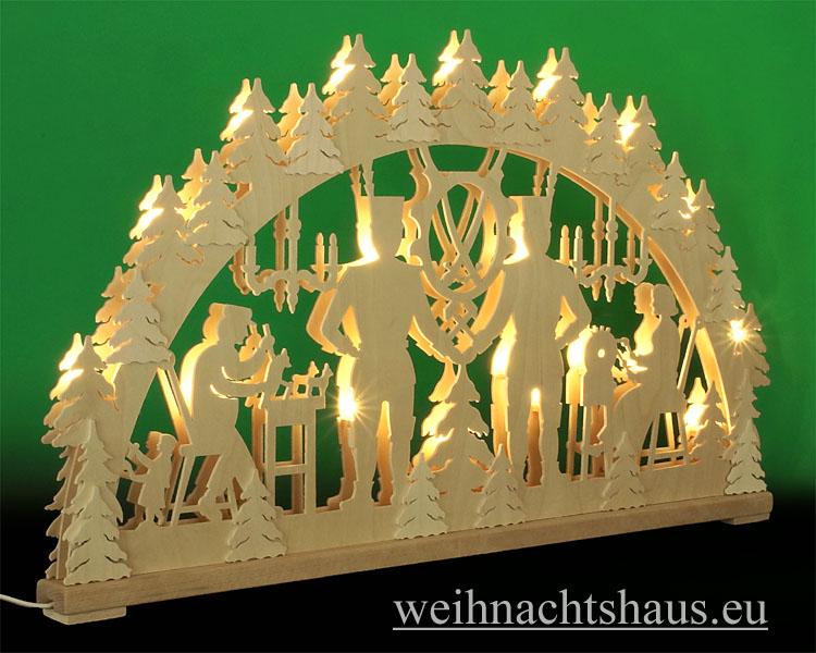 Seiffen Weihnachtshaus - Doppelschwibbogen- Erzgebirge 20 Kerzen Bergmänner 80 cm - Bild 2