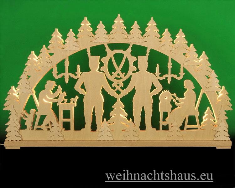 Seiffen Weihnachtshaus - Doppelschwibbogen- Erzgebirge 20 Kerzen Bergmänner 80 cm - Bild 1