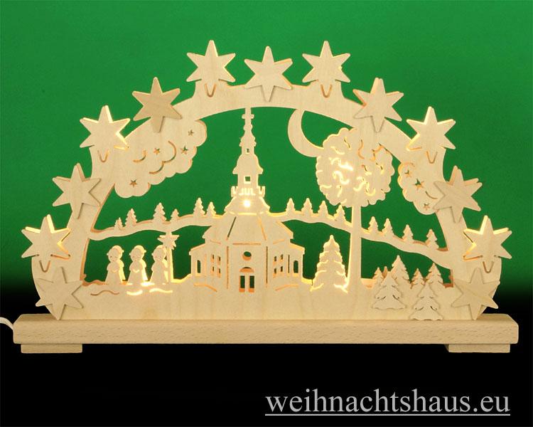Seiffen Weihnachtshaus - Doppelschwibbogen Erzgebirge 10 Kerzen Seiffener Kirche(doppelt) - Bild 1