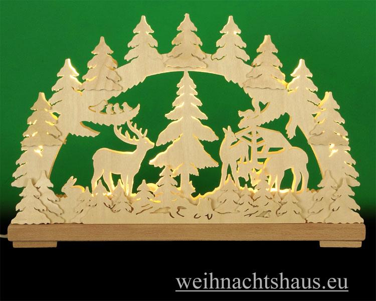 Seiffen Weihnachtshaus - Doppelschwibbogen Erzgebirge 10 Kerzen Waldtiere 43 cm - Bild 1