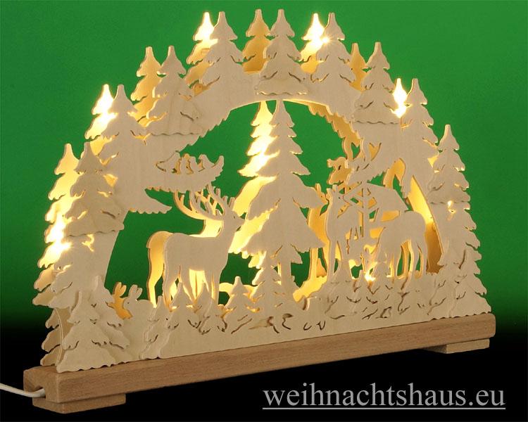 Seiffen Weihnachtshaus - Doppelschwibbogen Erzgebirge 10 Kerzen Waldtiere 43 cm - Bild 2