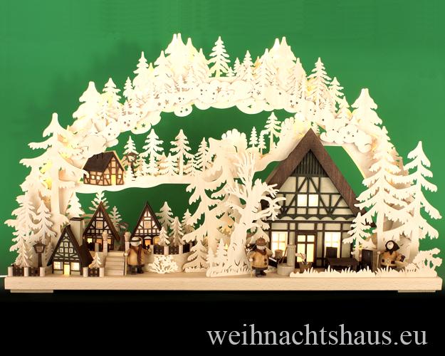 Seiffen Weihnachtshaus - Doppelschwibbogen  groß 20 Kerzen  Dörflein 72 cm - Bild 1
