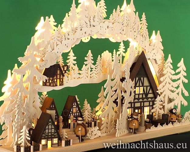 Seiffen Weihnachtshaus - Doppelschwibbogen  groß 20 Kerzen  Dörflein 72 cm - Bild 2