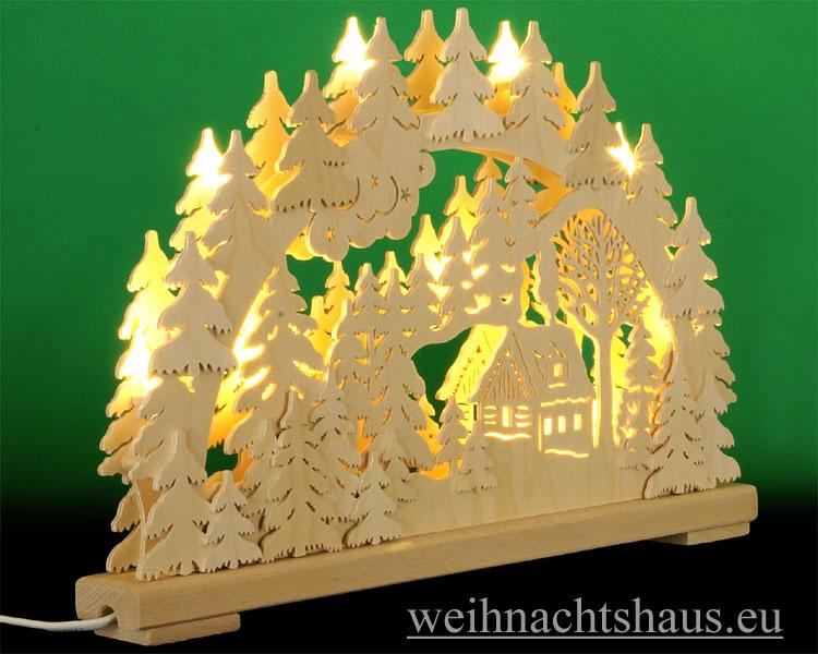 Seiffen Weihnachtshaus - Doppelschwibbogen Erzgebirge 10 Kerzen Schneehütte 43 cm - Bild 2