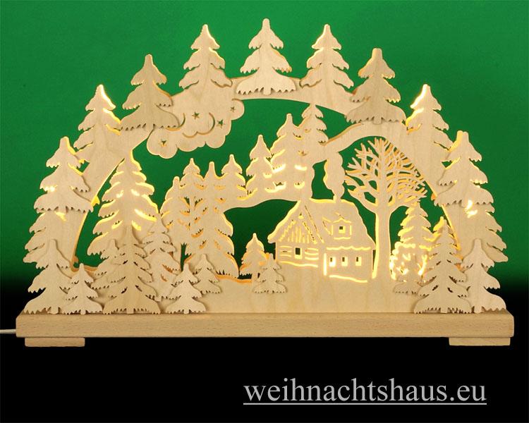 Seiffen Weihnachtshaus - Doppelschwibbogen Erzgebirge 10 Kerzen Schneehütte 43 cm - Bild 1