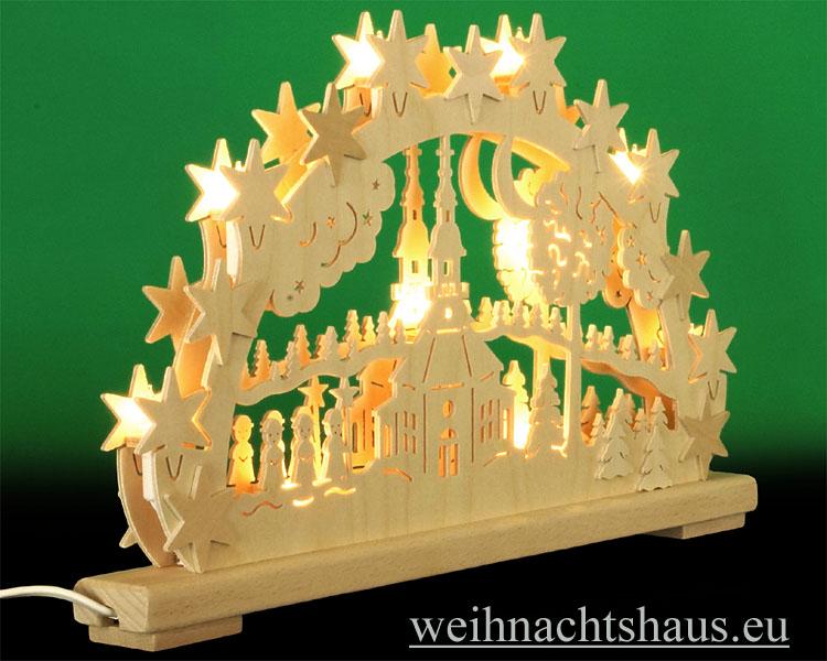 Seiffen Weihnachtshaus - Doppelschwibbogen Erzgebirge 10 Kerzen Seiffener Kirche(doppelt) - Bild 2