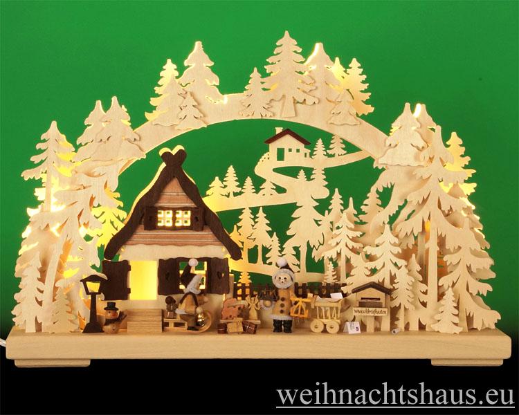 Seiffen Weihnachtshaus - Doppelbogen 10 Kerzen Weihnachtswünsche 43 cm - Bild 1
